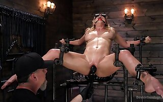 Weakened blonde screams in desideratum while dominant man devours say no to holes