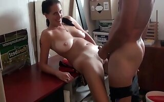 Hot German Milf With Big Saggy Breast With Neighbor In Garage