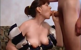 Russian Mom Round Hairy Pussy Fucks Son On Couch: Mthrfkr