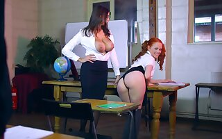 MILF shares beefy dong almost younger girl in classroom XXX play