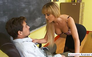 X-rated busty college tutor in nylon stockings Cherie Deville is fucked on the table