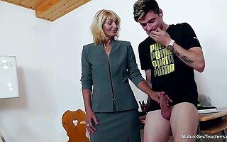 Senior Teacher Ivona Coupled with Teen Thick-Dicker