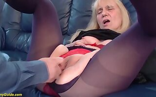 Ugly saggy knocker 85 years old granny gets first time resemble and unfathomable cavity doggystyle anal fucked