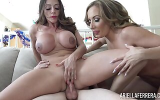 Two curvy MILFs share a young man's bushwa on 4th of July