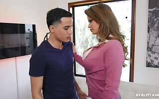 Naughty MILF rides a younger man and gets cum in brashness - Emily Addison