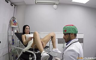 Pussy exam is turned into proper doggy fuck for horny doctor Nick Moreno