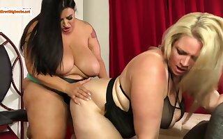 Oh boy - big BBW lesbians with monster bosom sharing strapon kickshaw