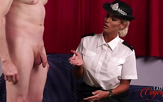 Filthy female cop Charlie Monaco enjoys watching a guy jerking off