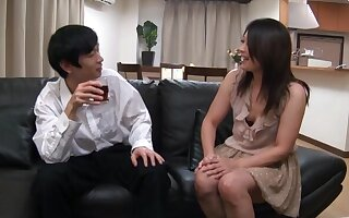 Quickie shafting on the leather sofa with horny mature Yuna Shiina