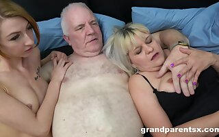 Old man fucks his dirty wife with the addition of a skinny younger hooker. HD