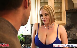 Voluptuous MILF Maggie Green fucks her neighbor while her hubby is widely