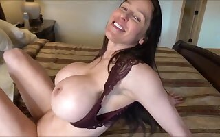 Hot wife with fake mammal tits gives POV deepthroat & titjob
