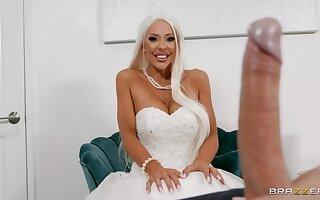 Naughty cougar fucks on her wedding day