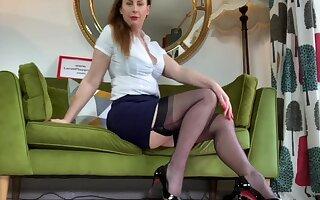Lovely chick Lara loves teasing while posing in the brush stockings
