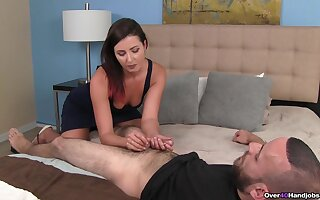 A marvelous style with the clothed mom jerking the lad's chubby locate