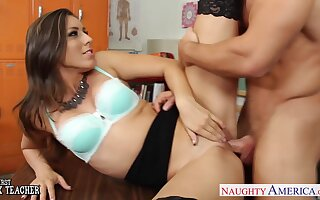 Tall professor Rilynn Rae fucks her favorite student coupled with this young gentleman is so hot