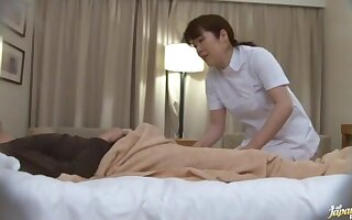 Simple boobs Japanese MILF gives a massage and gets fucked hard