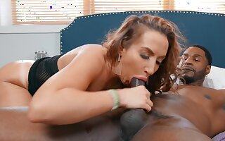 PAWG babe is oiled before sitting on the BBC