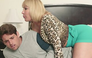 Busty stepmom feels intense to lady-love and swallow