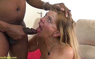 Hairy chubby granny beside saggy boobs gets rough deep interracial obese black cock fucked