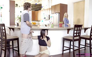 Kitchen romance when mommy joins the fun