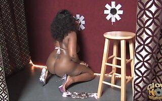 Fat ebony chick Nina Cole enjoys pleasuring a large white prick