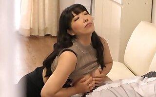 Busty Asian darling drops on the brush knees alongside pleasure a rock lasting dick