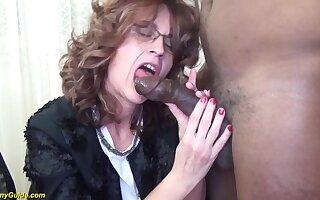 Curly redhead skinny mom at work