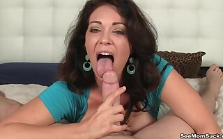 Brunette mature loves to have a hard dick in her horny mouth