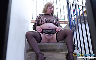 Video with extremely busty mature and her horny masturbation captured