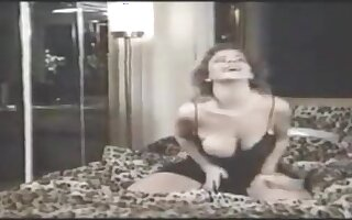 Milf in sexy lingerie gets a hot fuck with two big dicks
