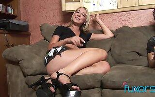 Blonde all American net door MILF Amy Brooke swallows cum