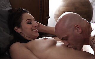 Bald guy slides his long schlong in wet pussy of Bella Rolland