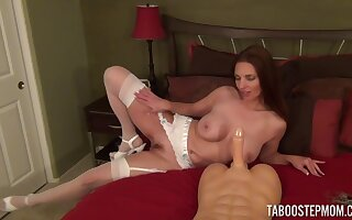 Home alone Mindi Mink spreads her legs to ride her fuck toy