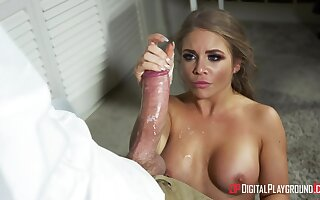 Alessandra Jane teases her coworker with a huge dick and gets fucked
