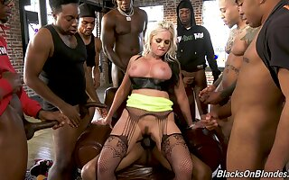 Blonde slut Alena Croft wanted to be fucked by a lot of black guys
