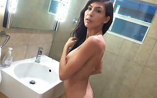The boy caught naked stepmom in the shower and fucked her sweet pussy...