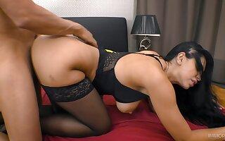 Zealous busty brunette Kira Queen just enjoys riding sloppy cock