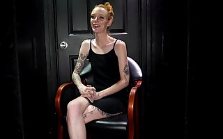 Tattooed, ginger babe with small tits, Faye is sucking a constant dig up through a gloryhole