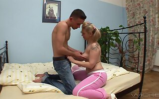 Smooth fucking on the bed with blonde of age wife Olympia