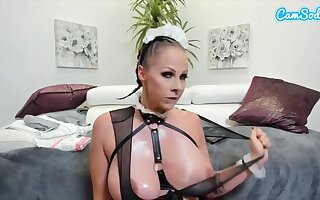 Naughty piece of baggage is toying her pussy after desquamate it, while wearing a sexy maid livery