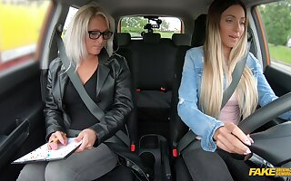 Female driving examiner shares dildo with a young explicit