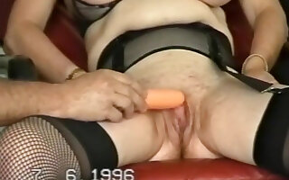 Brunette mature wife  bends desert and toys her pussy