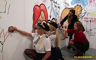 Naughty the long arm of the law Amber Jayne and Amber West suck dicks