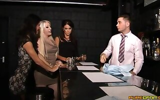 Dick stroking with an increment of sucking in the bar with horny star Megan Coxxx