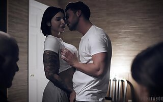 Adult adopted daughter Ivy Lebelle gets laid thither front of their way adopted parents