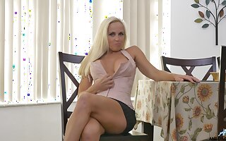 Handsome blonde Dani Dare takes off will not hear of miniskirt to masturbate